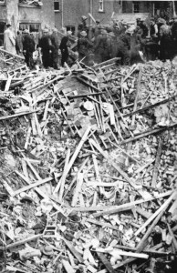 Aftermath of German bomb attack on Hat Factory in Luton. Image courtesy of the Luton News archive.