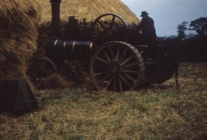 A farmer at work with a traction .engine, photographed by an airman of the 44th Bomb Group.Image courtesy of the American Air Museum. FRE7089