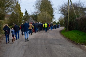 Walkers heading to the airfield.