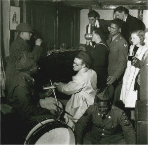Lee Miller's photo of Giles and African-American engineers in the Tuddenham Fountain - Butch is playing the drums