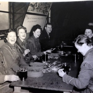 Land girls drinking in the bar
