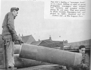 Propoganda bombs being moved in Luton. Image courtesy of the Luton News archive.