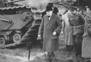 British Prime Minister Winston Churchill visiting the Vauxhall car plant in Luton during WW2. Image courtesy of the Luton News archive.