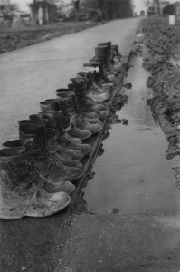 A line of boots belonging to personnel of the 44th Bomb Group. (FRE 3452)